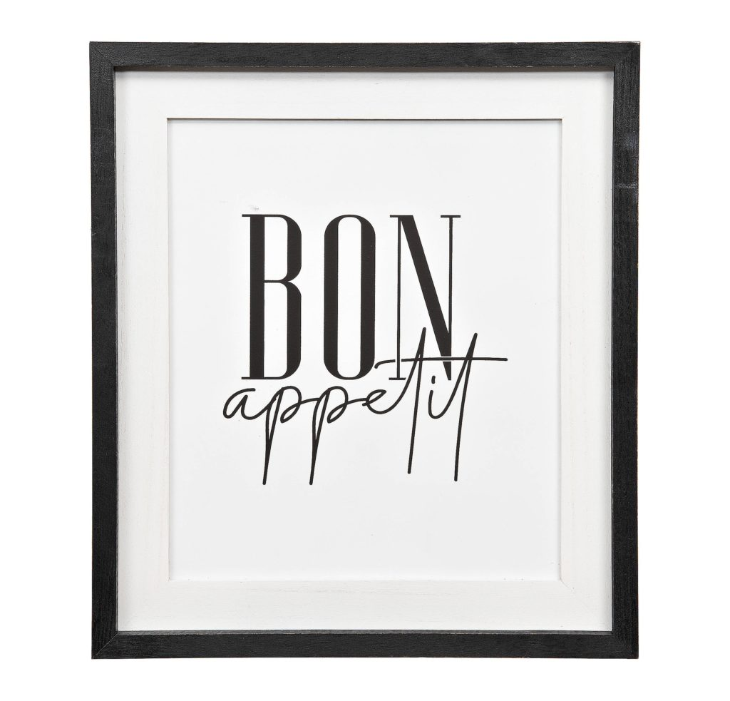 Black and White Bon Appetite Framed Print $24.99