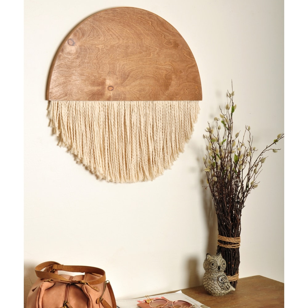 The Curated Nomad Wooden Round Fiber Art Wall Hanging - 18 x 17 $217.49