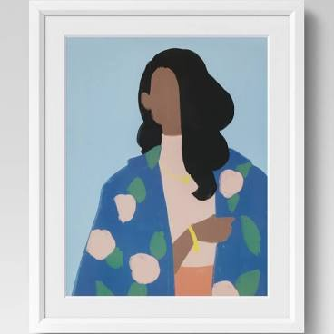 Woman with Blue Coat Framed Wall Poster - Opalhouse™ $39.99