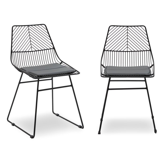 MoDRN Scandinavian Metal Dining Chair with Cushion - Set of 2 $129.00