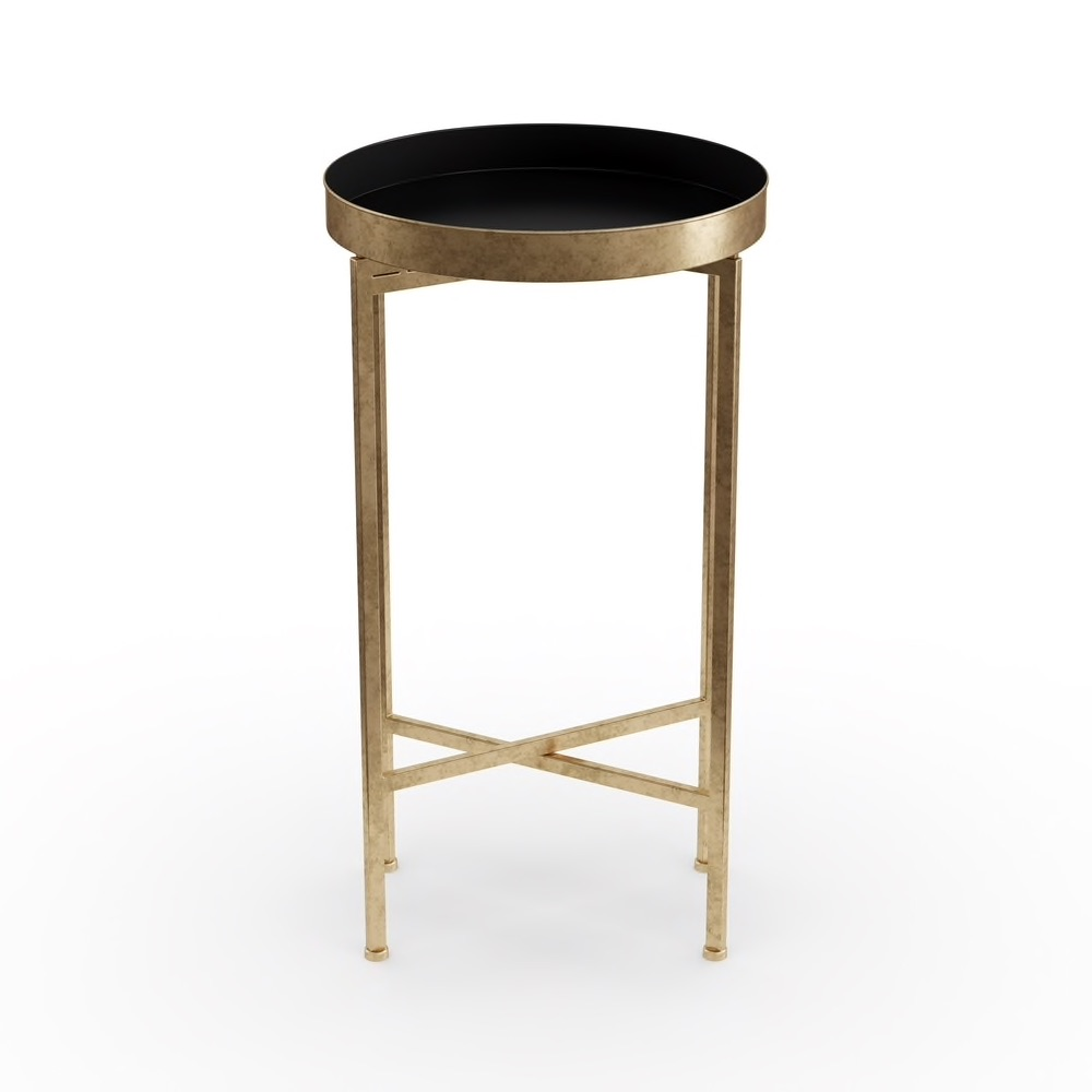 Kate and Laurel Celia Round Metal Foldable Tray Accent Table - Black  $57.99
