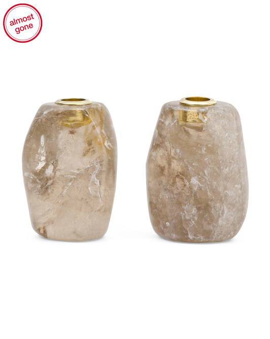 HOUSE OF GEMSSet Of 2 Smoky Quartz Candle Holders$99.99