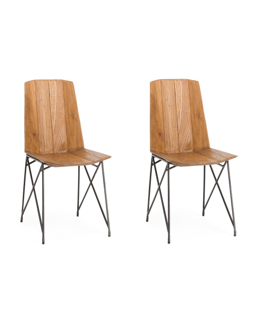 LUMISOURCE Set Of 2 Solid Teakwood Chairs $199.99