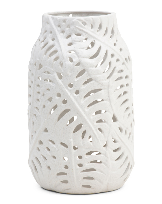 SAGEBROOK HOME Ceramic Palm Cutout Vase $29.99