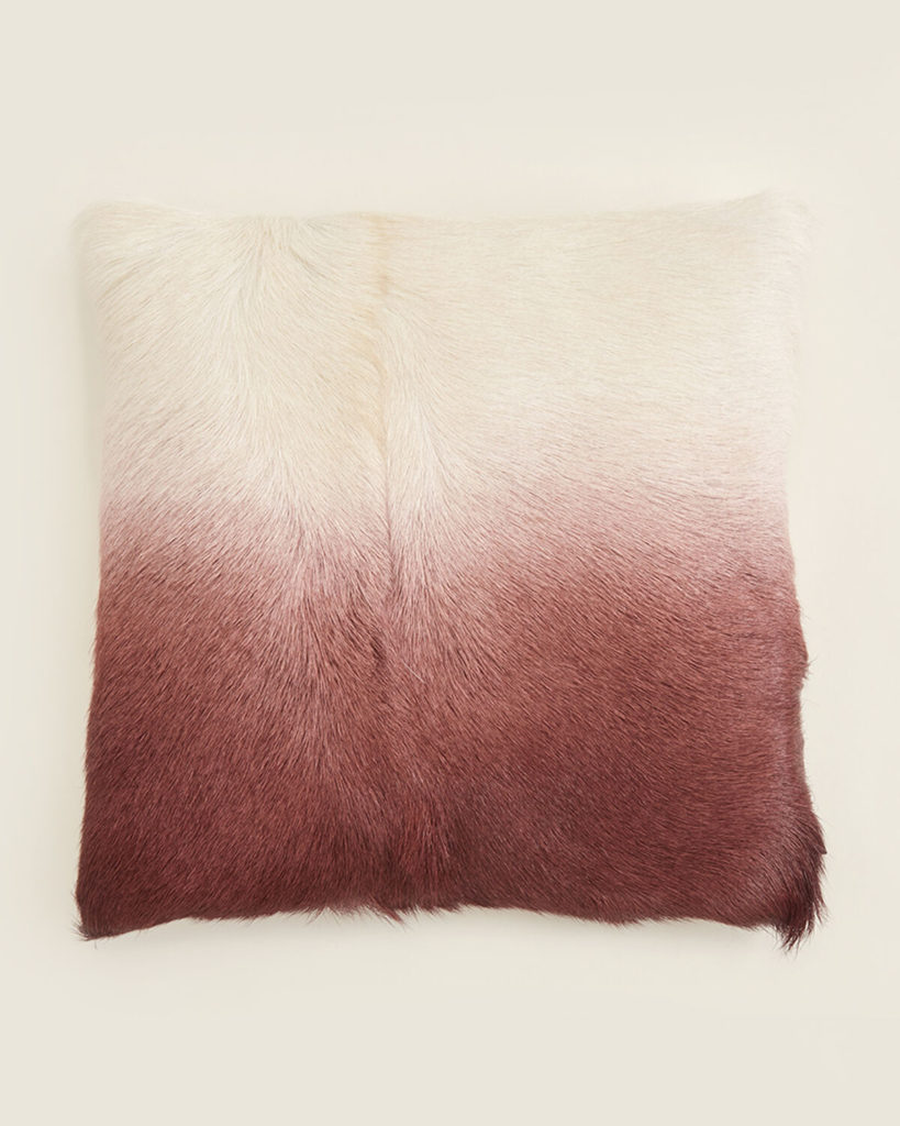 EIGHTMOOD White & Plum Greta Real Fur Decorative Throw Pillow $39.99