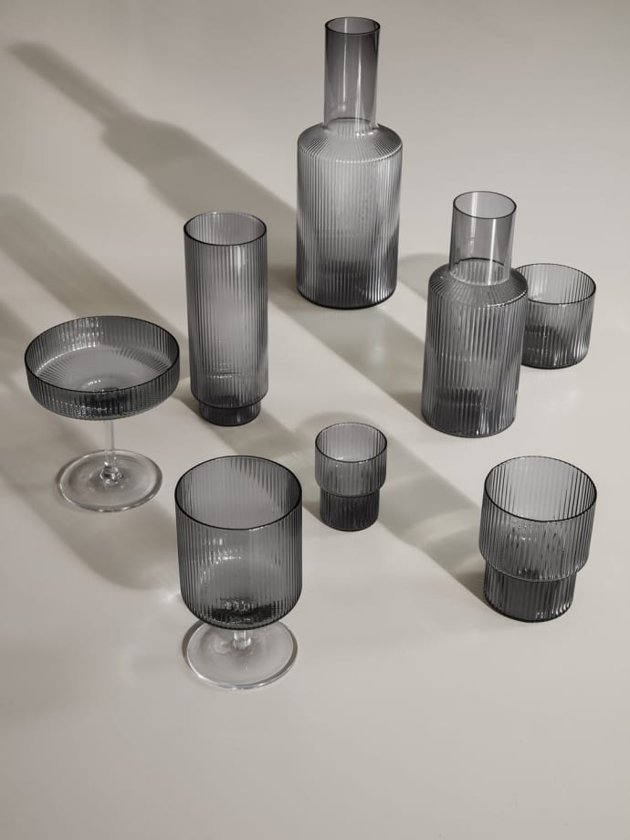 Set Of 4 Smoked Grey Ripple Small Glasses $37.99
