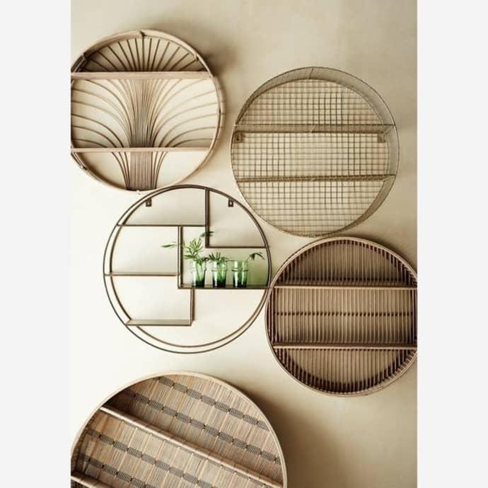 Round Bamboo Rattan Etagere Shelf $153.49