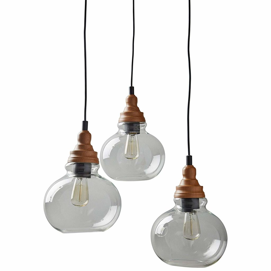 Rivet Glass Mid Century Modern 3 Pendant Chandelier Fixture With 3 Vintage Light Bulbs $129.96 https://fave.co/2wBFKik