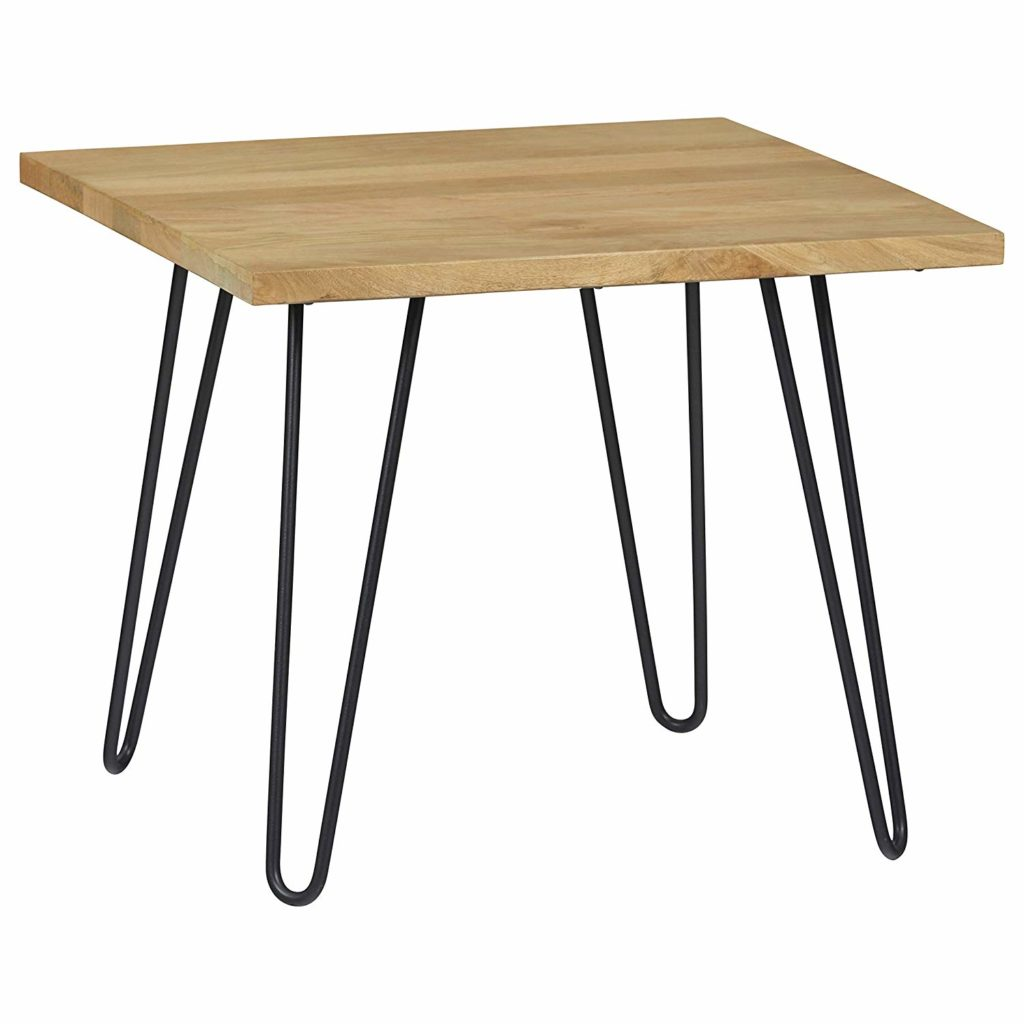 Industrial Solid Wood Lamp Table with Hairpin Metal Legs $196.90