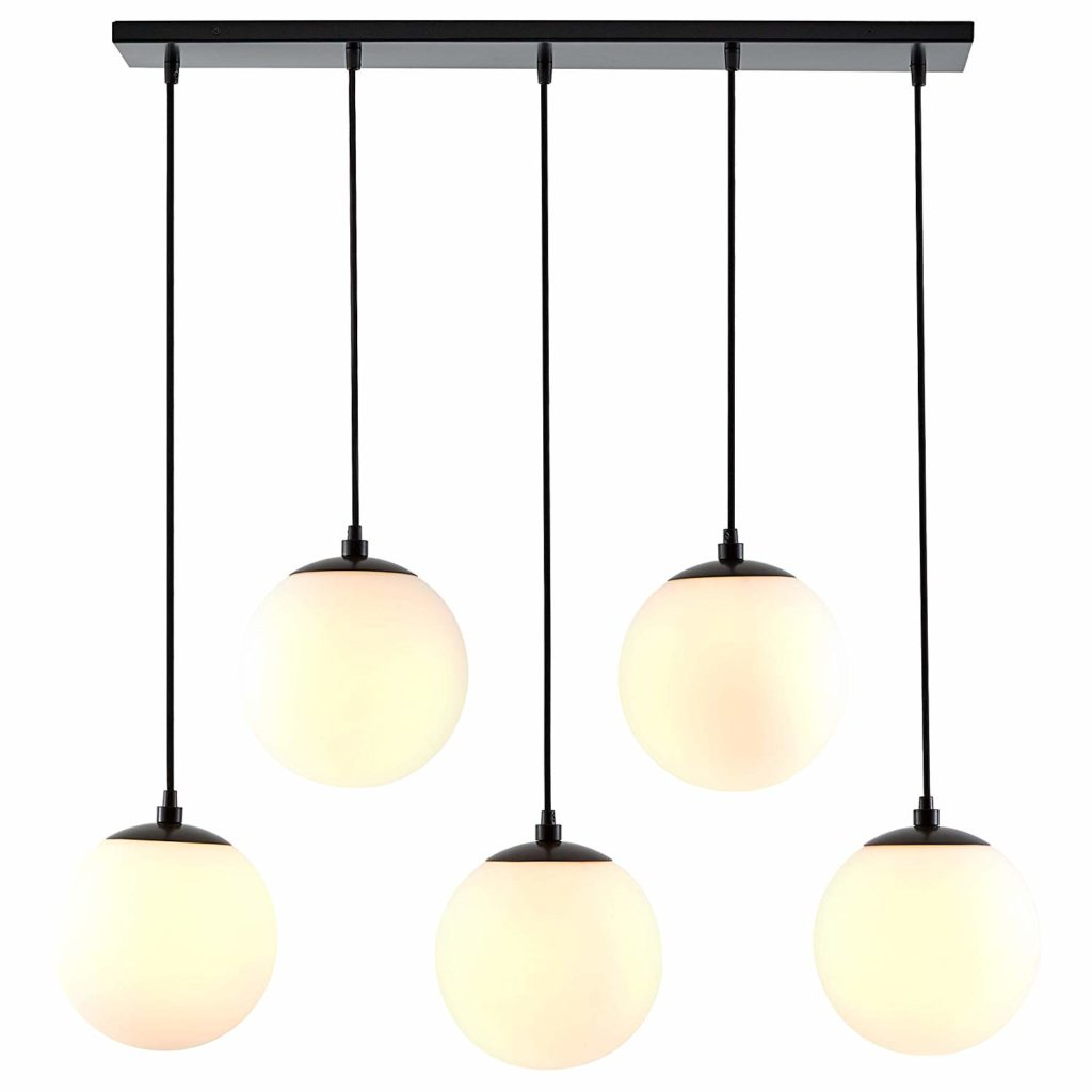 "Modern Steel and Glass Pendant Lamp, 28.5""H $138.61 https://fave.co/2PXmFxJ"