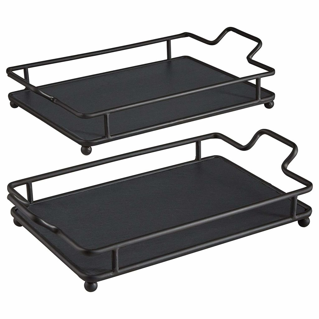 Contemporary Decorative Large and Small Metal Tray Set $36.41