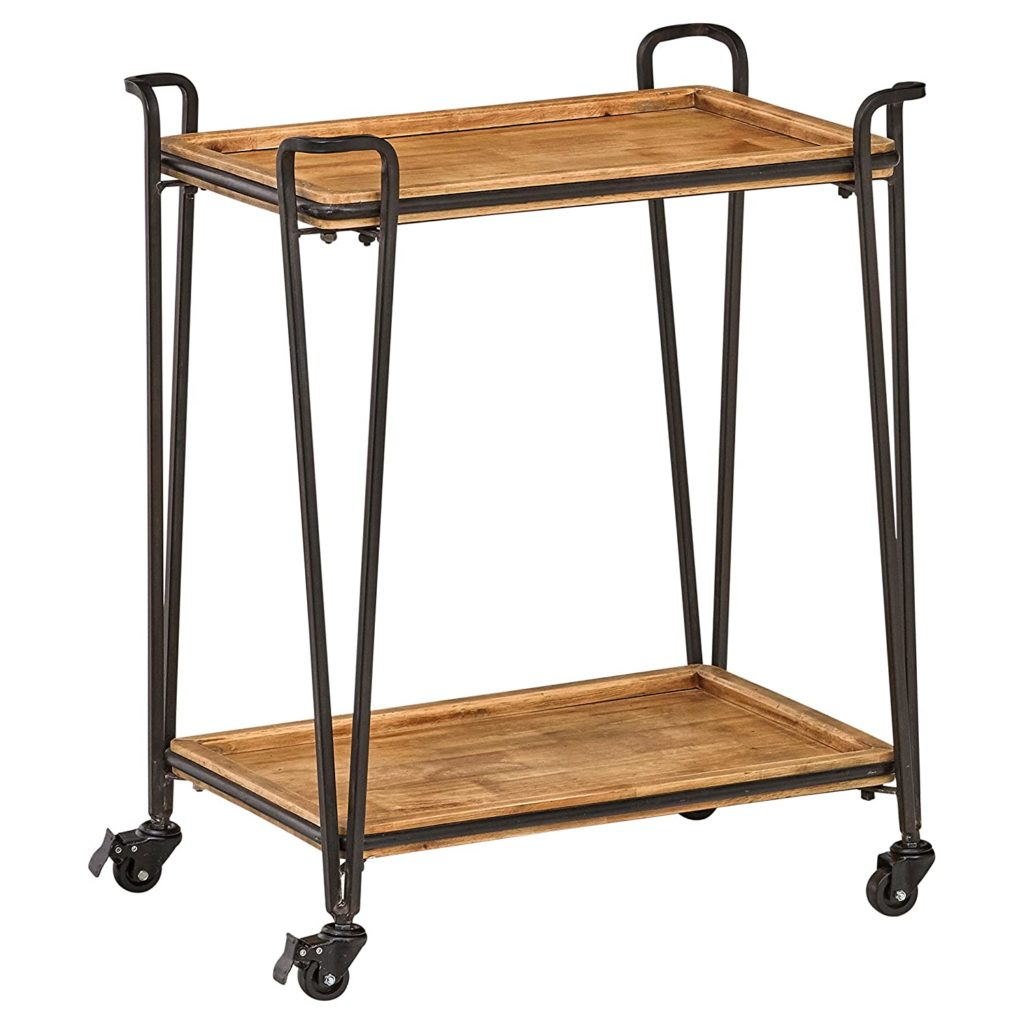 Industrial Modern 4-Post Rolling Bar Cart Table with Wheels $152.56
