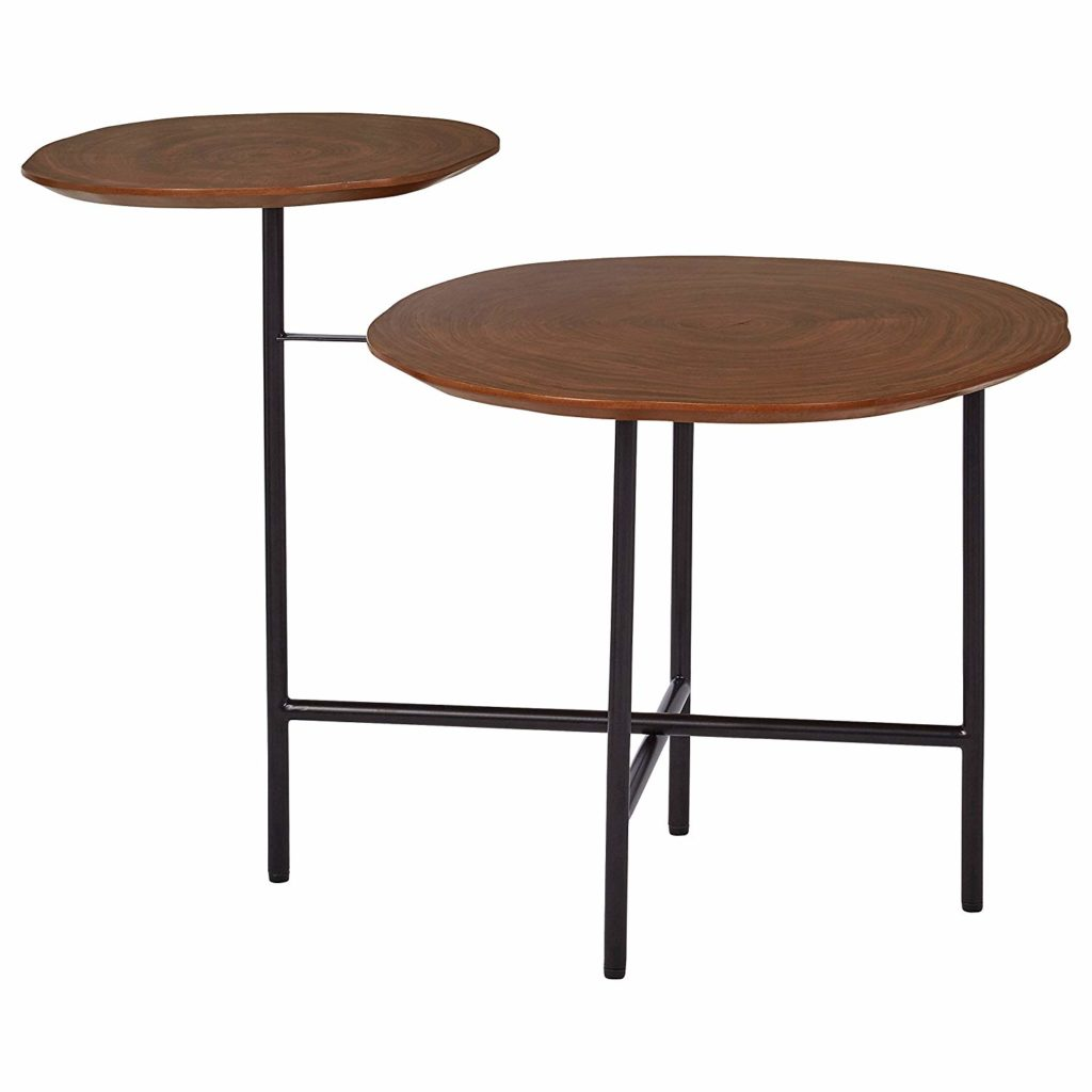 Mid-Century Modern Wood and Metal 2-Tiered Side End Accent Table $121.34