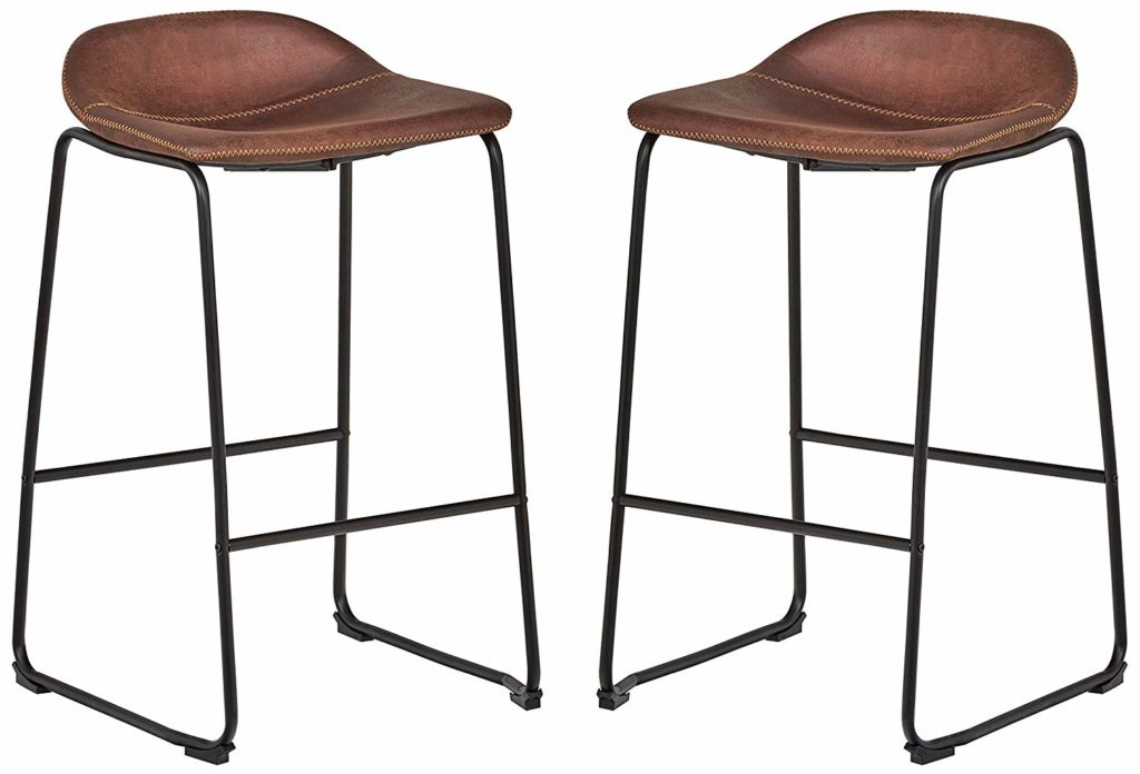 Mid-Century Modern Microfiber No-Back Saddle Kitchen Counter Bar Stools, Set of 2 $158.75 https://fave.co/2wCLPuK