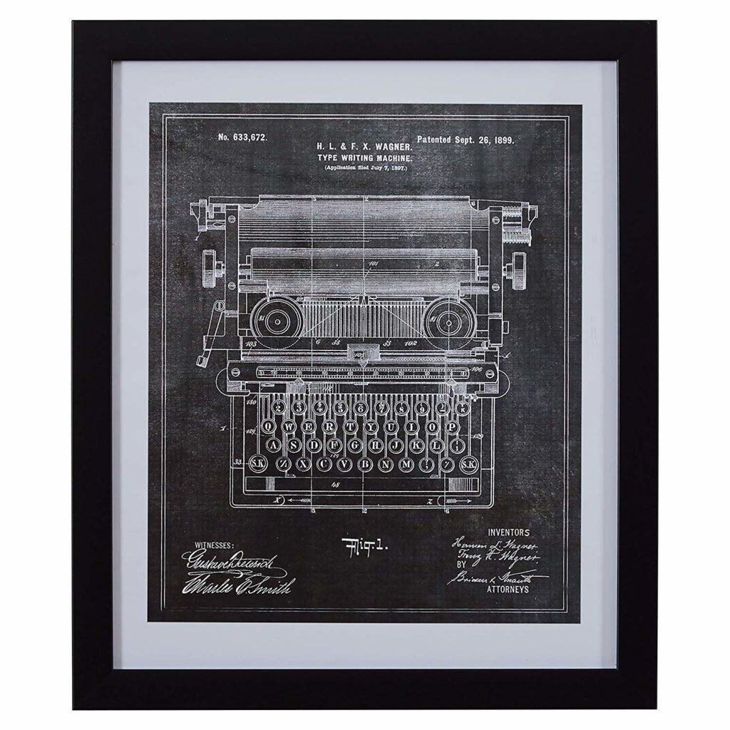 Black on White Industrial Blueprint of 1899 Typewriter $93.49