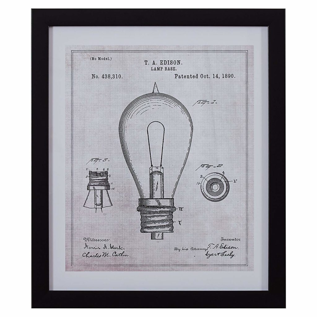Black and White Vintage Print Wall Art of 1890 Bulb in Black Frame $86.51