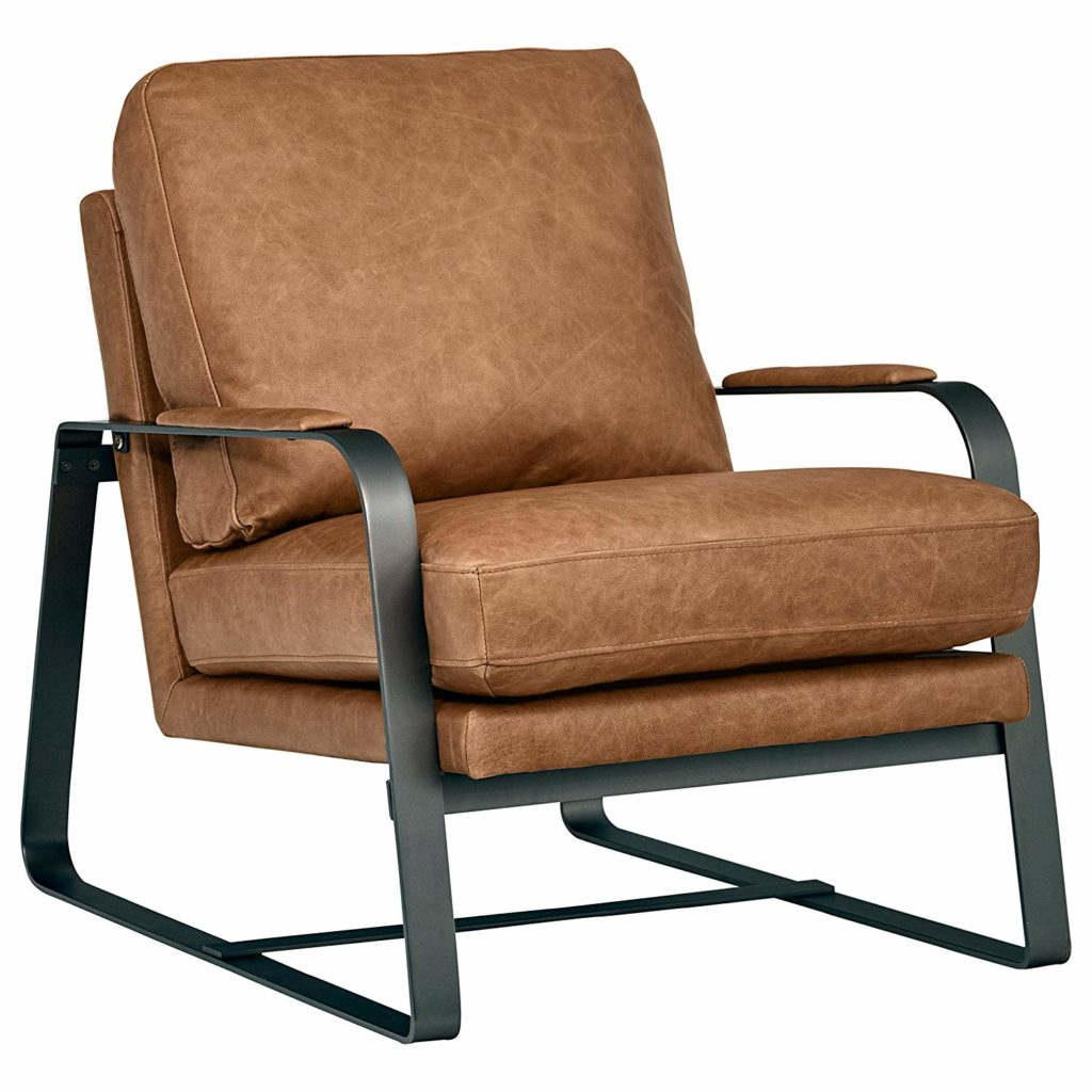 "Mid-Century Modern Top-Grain Leather Steel Armed Accent Chair 27""W $967.00"