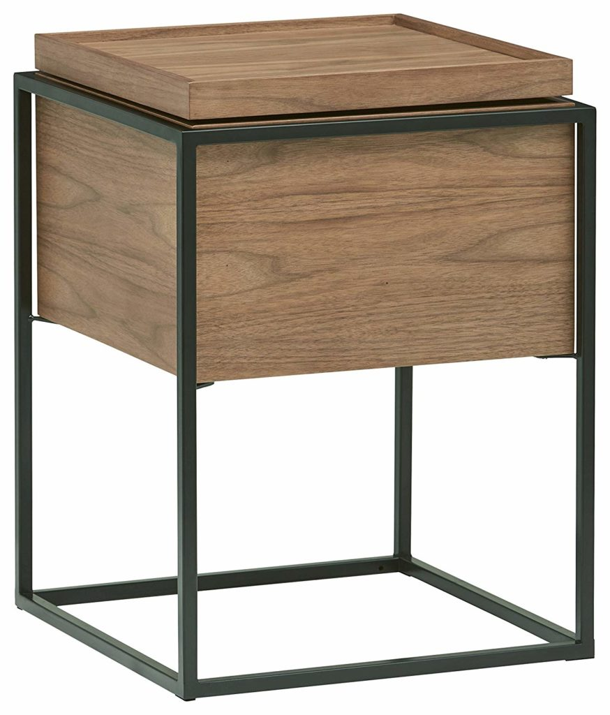 Axel Lid Storage Wood and Metal Side End Table $174.04