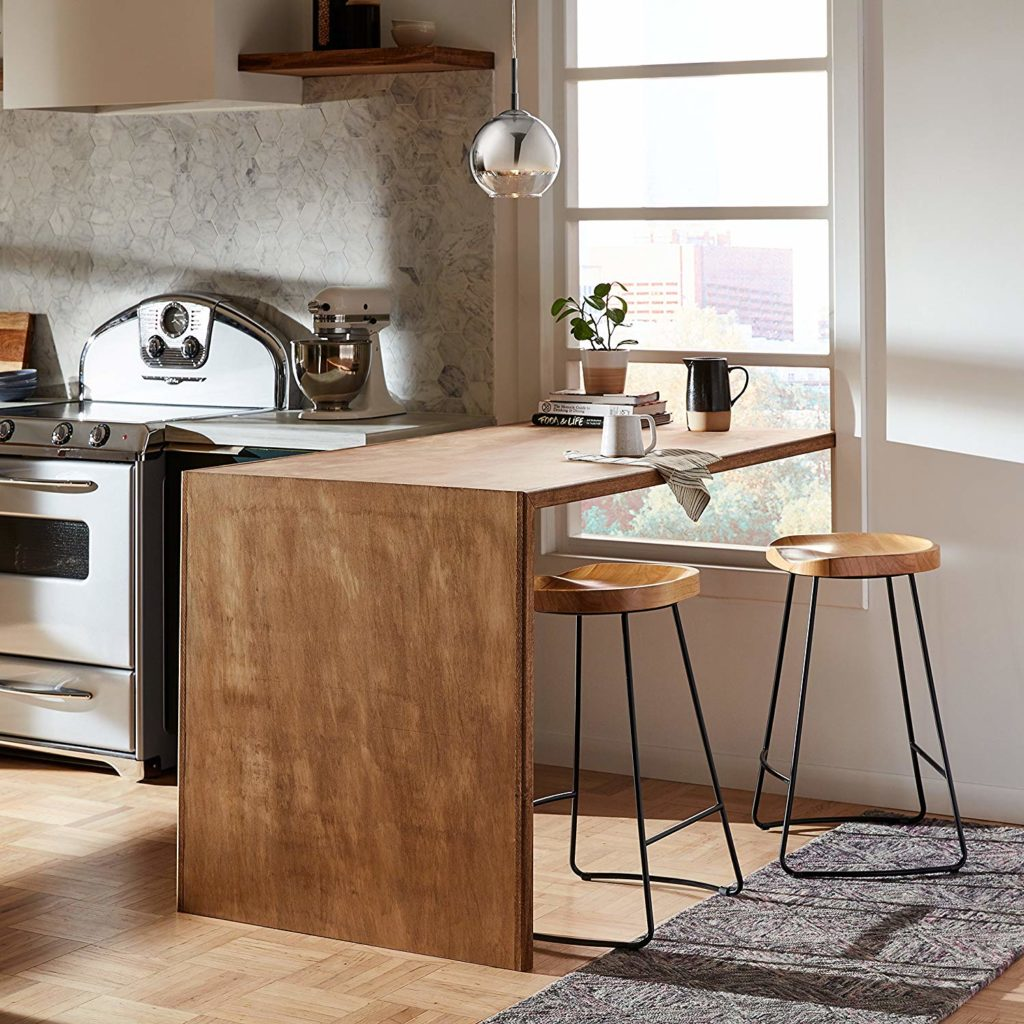 Rivet Modern Industrial Wood and Metal Kitchen Counter Bar Stool $13