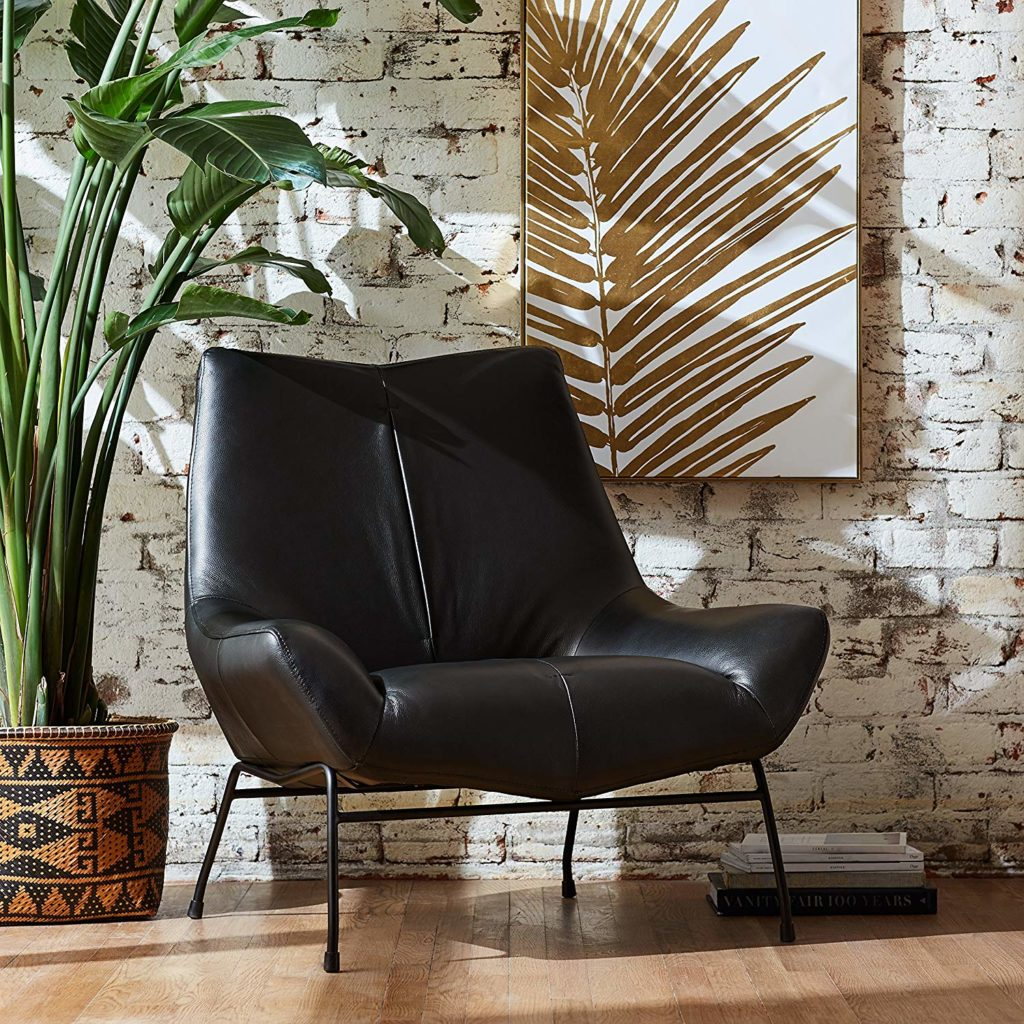 Mid-Century Modern Leather Metal Leg Accent Lounge Chair $349.28 https://fave.co/2v2EVhX