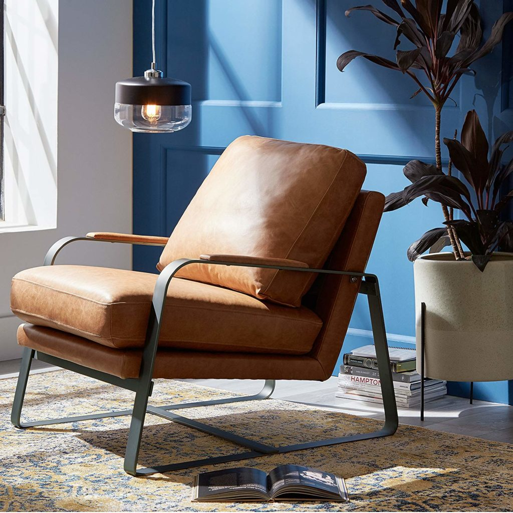 Summit Mid-Century Modern Top-Grain Leather Steel Armed Accent Chair $967.00 https://fave.co/2wG6Nc1