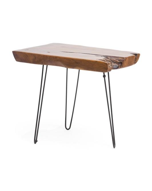 STYLECRAFT Teak Wood Side Table $99.99