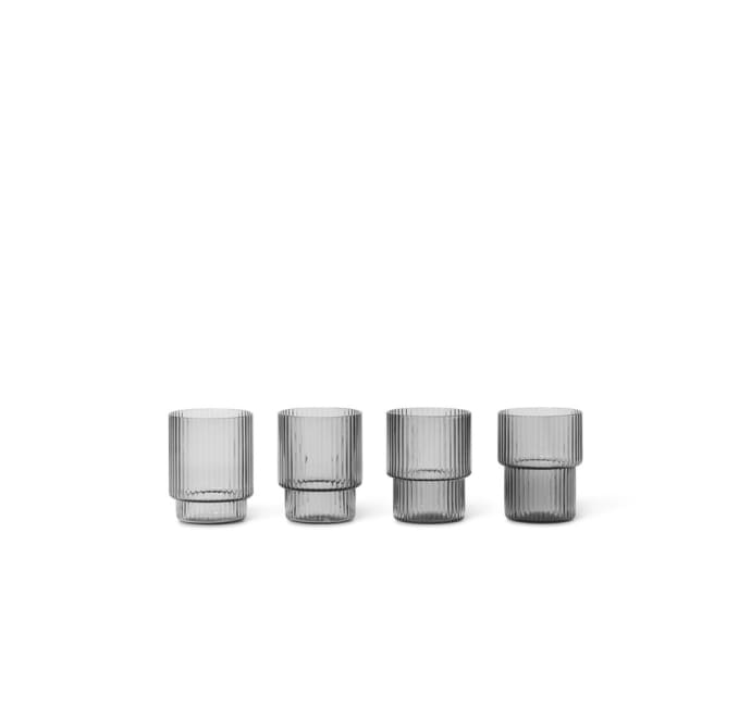 Set Of 4 Smoked Grey Ripple Small Glasses$37.99