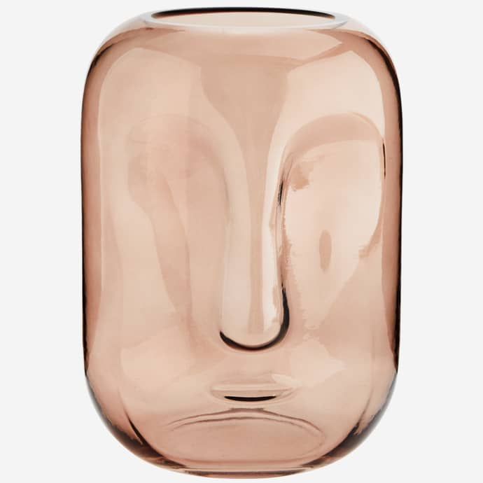 Rose Pink Large Glass Face Vase $43.99