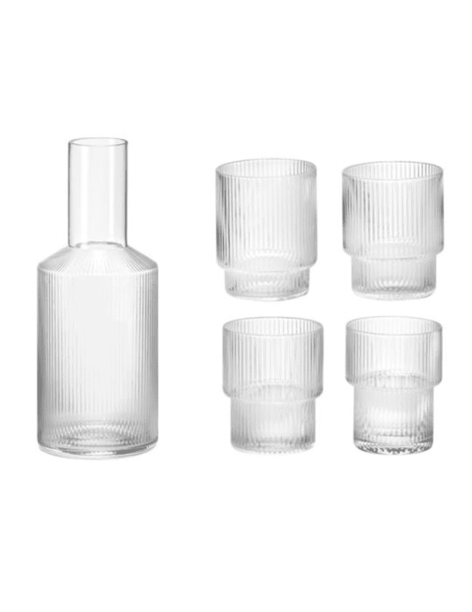 4 Clear Ripple Glasses + 1 Carafe (2 colours)$93.99