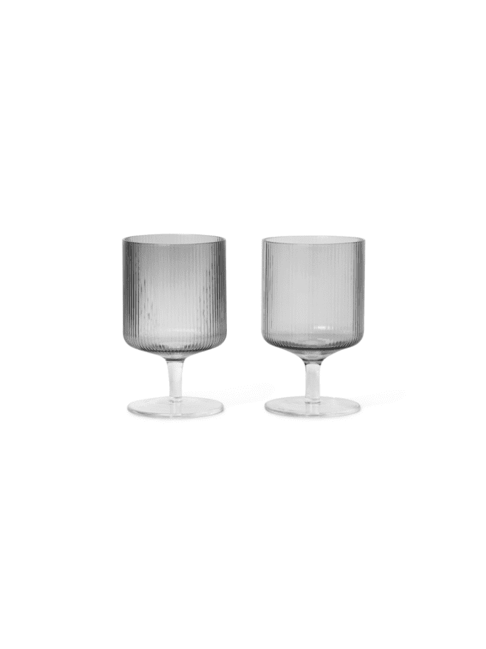 Ripple Wine Glasses (Set of 2) Smoked Grey $49.99