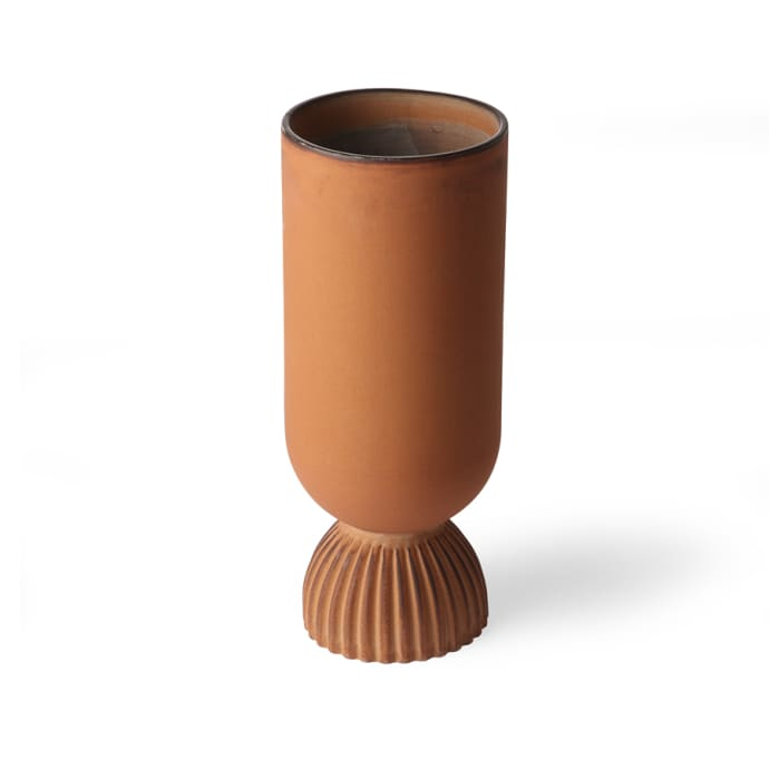 Ceramic Ribbed Rustic Flower Vase in Rust $39.49