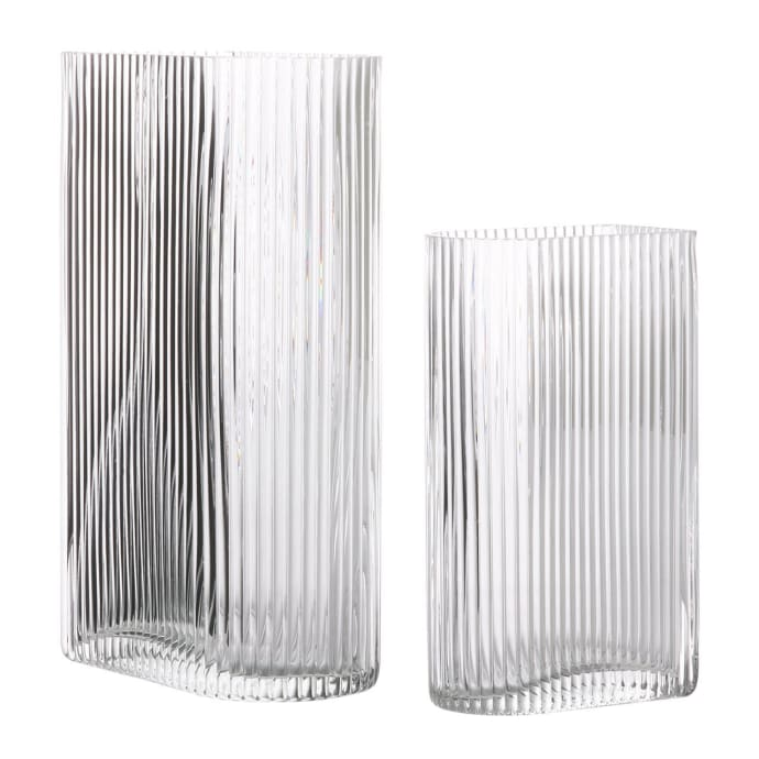 Set of 2 Glass Ripped Vases Set$71.99