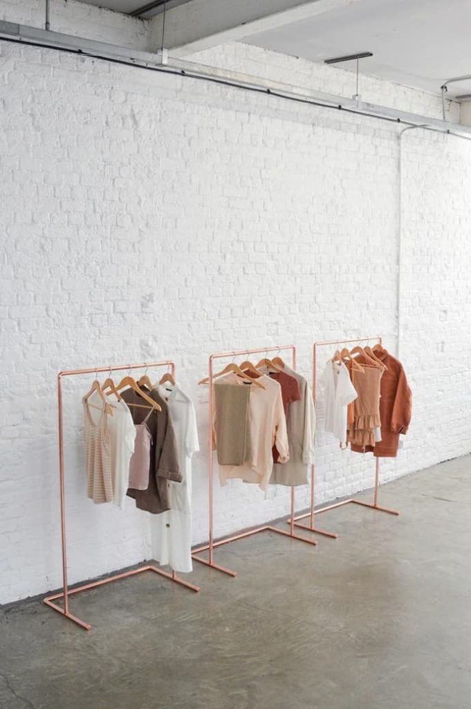 Minimal Copper Pipe Clothing Rail / Garment Rack / Clothes Storage $167.99