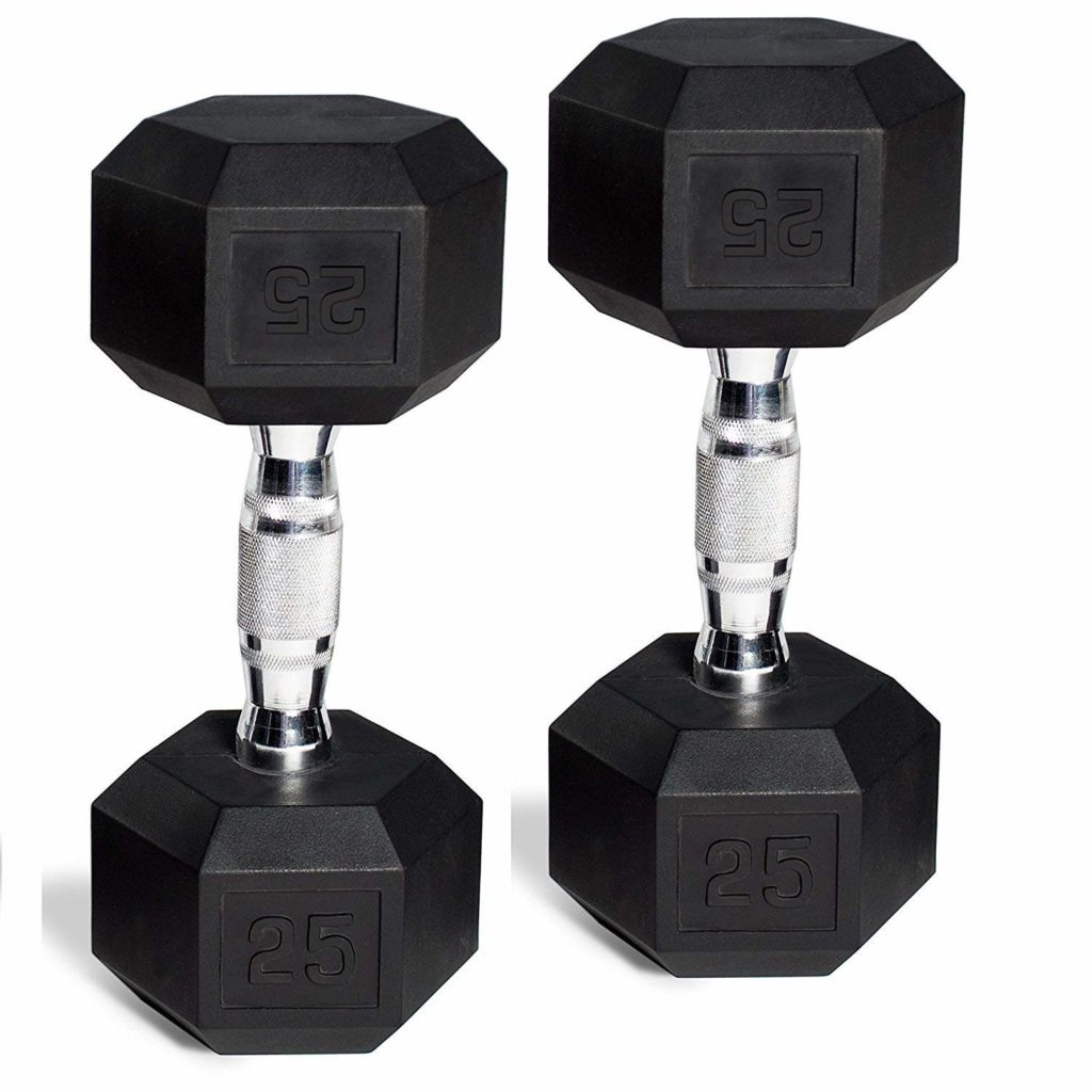 CAP Barbell Set of 2 Hex Rubber Dumbbell with Metal Handles, 90 Lbs, Pair of Dumbbells $16.99-$199.99