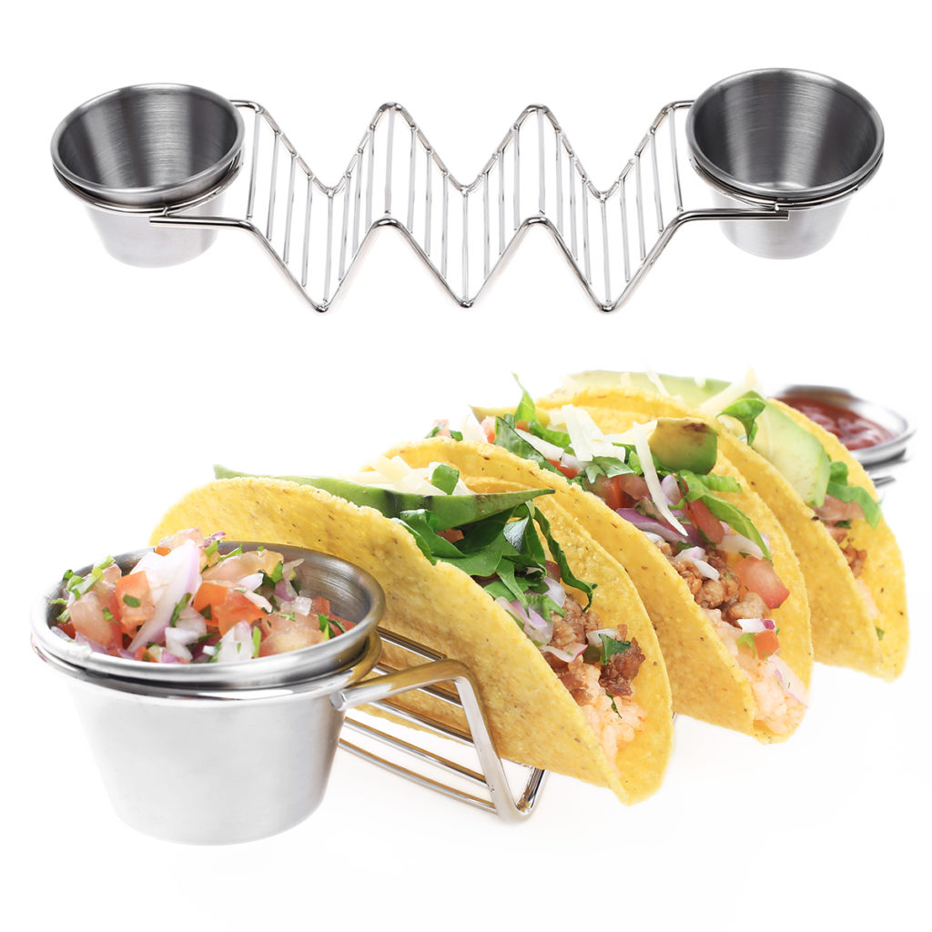 2 Packs Taco Holders, Stainless Steel Taco Stands with 4 Sauce Cups  $14.99