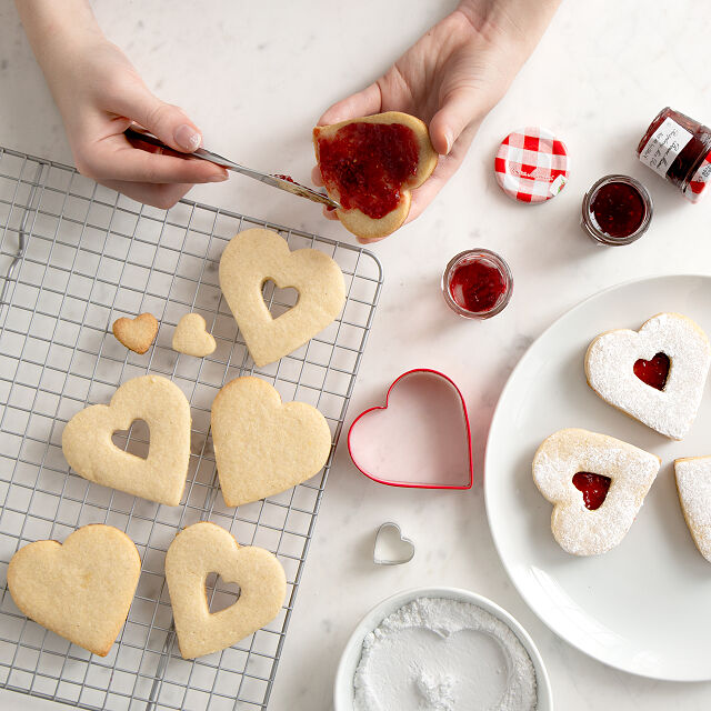 Heart-Shaped Linzer Cookie Baking Kit $34.00