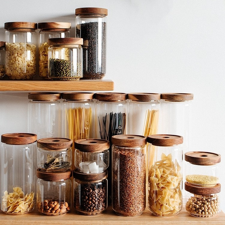 Vintage Cottage Clear Glass Kitchen Canisters with Wooden Lids Kitchen Storage Jars Set of 5 $65.99