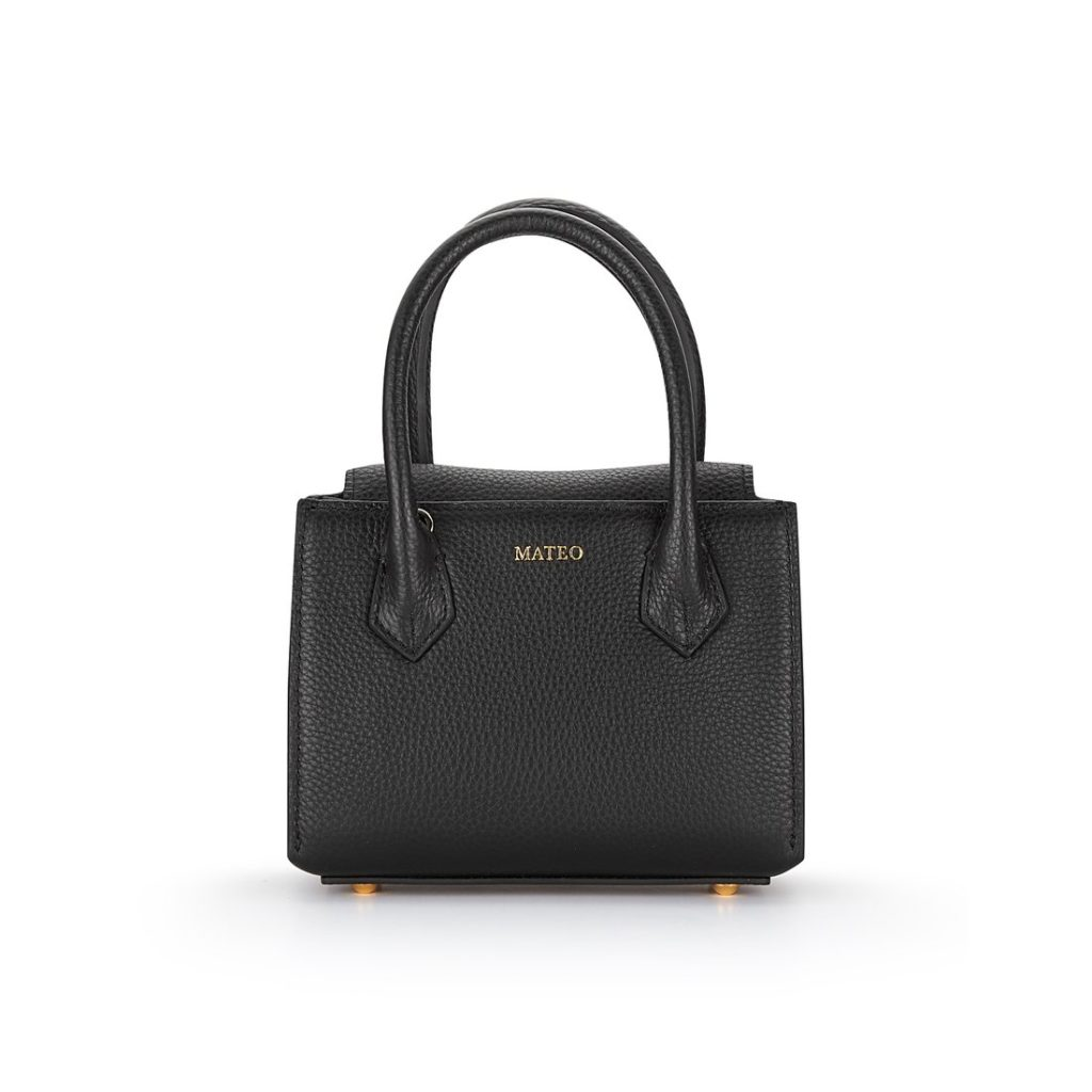 Black Pebbled Leather Diana Bag by MATEO NY $295.00