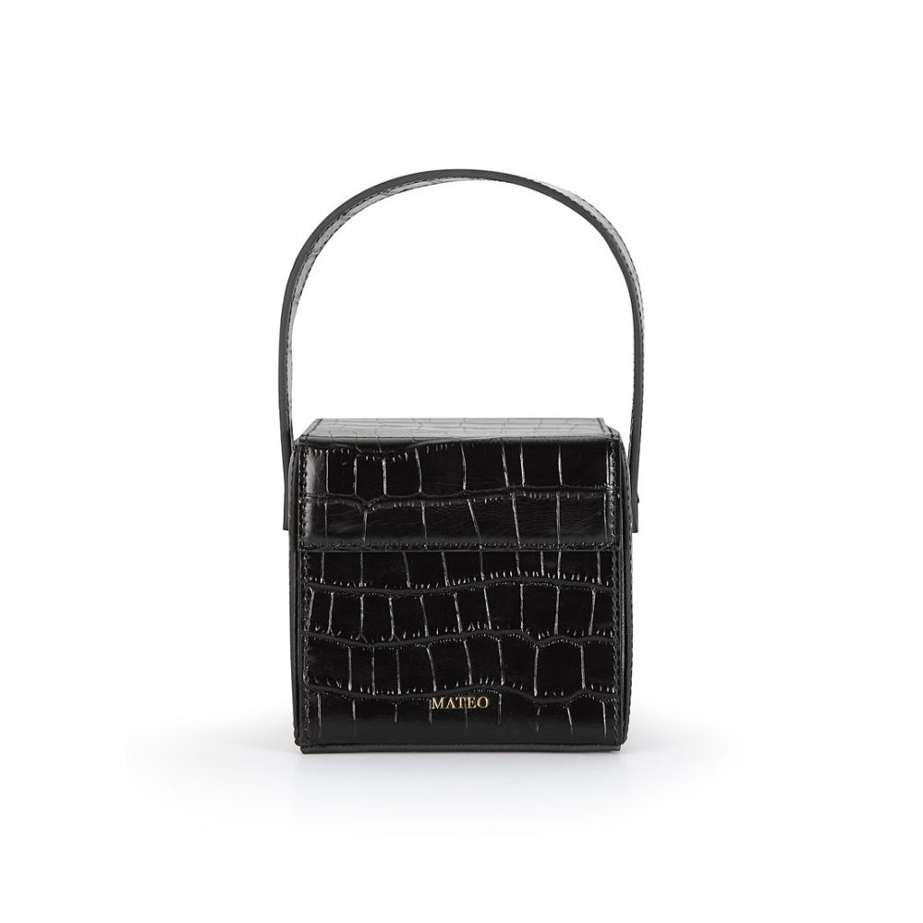 Black Croc Catherine Box Bag by MATEO NY $295.00