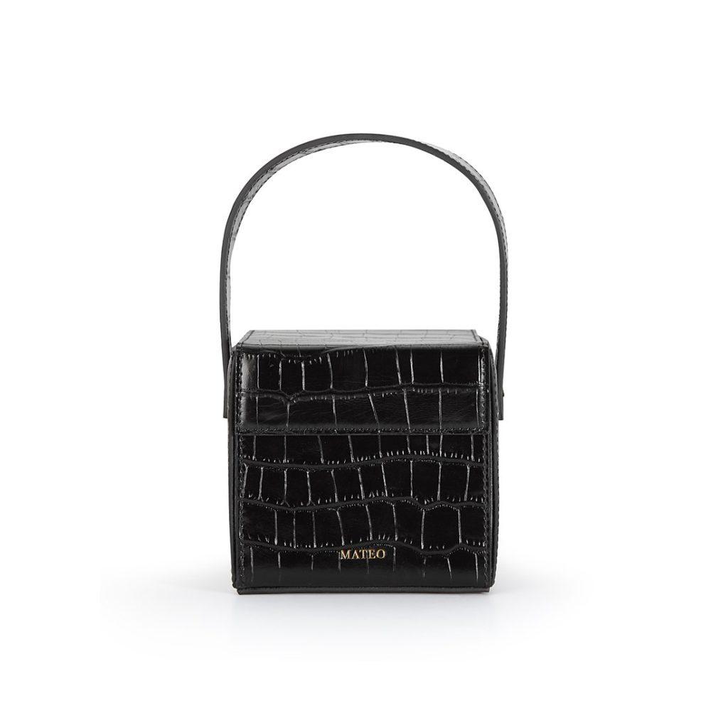 Black Croc Catherine Box Bag byMATEO NY $295.00