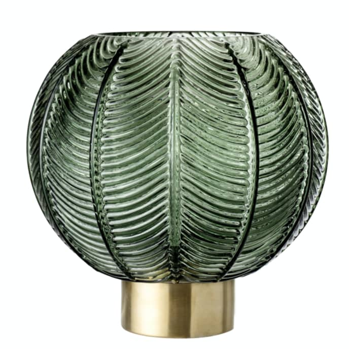 Bloomingville Textured Green Glass Gold Base Vase$57.99