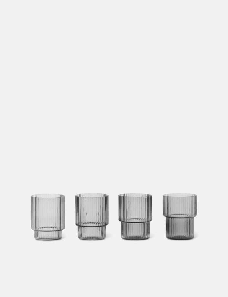 Ferm Living Ripple Glass Small (Set of 4) - Smoked Grey $36.00