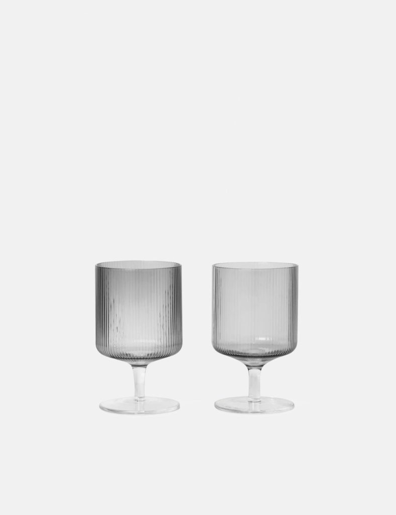 Ferm Living Ripple Wine Glasses (Set of 2) - Smoked Grey $32.00