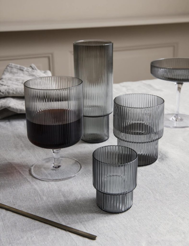 Ferm Living Ripple Wine Glasses (Set of 2) - Smoked Grey $‌32.00