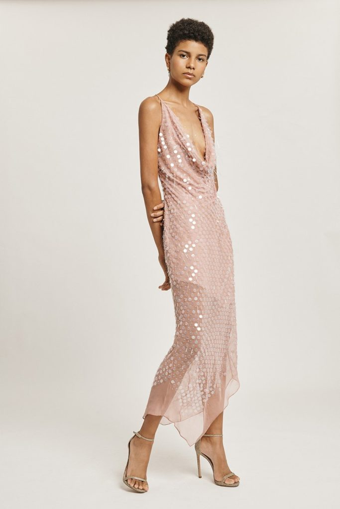 Dusty Rose Cowl Neck Dress $853