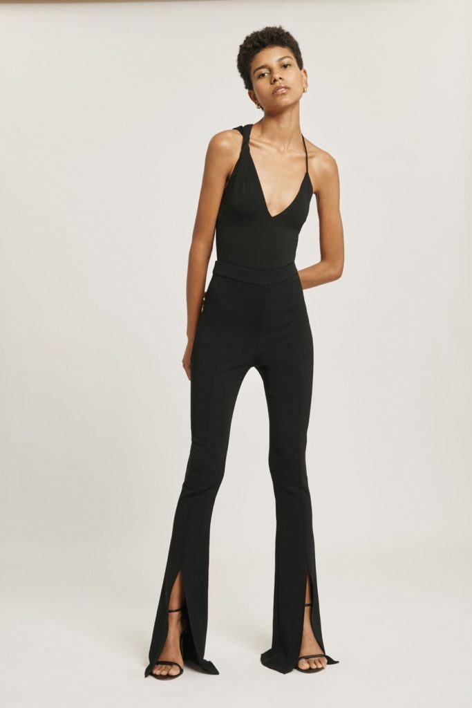 Black Liquid Cady High Waisted Flare Pant with Slits$448