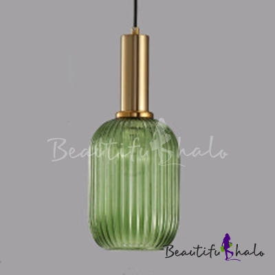 Ribbed Glass Geometric Hanging Light Simplicity Single Light Ceiling Pendant Light in Brass Finish $52.25
