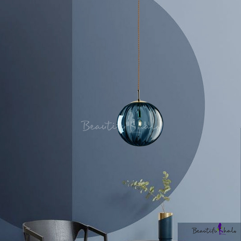 Ripple Glass Ball Hanging Light Minimalist 1 Light Ceiling Pendant Light in Gold $92.54