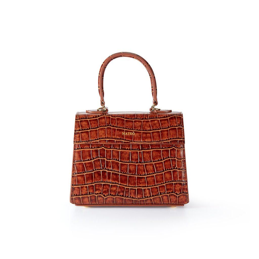 Cognac Croc Elizabeth Bag byMATEO NY $395.00