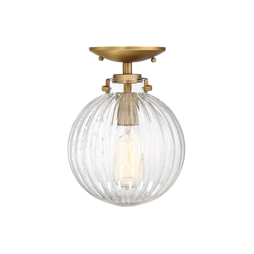 Whittier Natural Brass One-Light Semi Flush Mount with Ribbed Glass $68.09